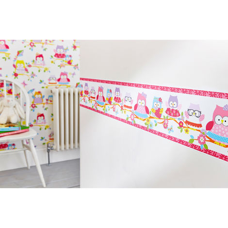 Superfresco Easy Olive The Owl Pink Multi Wall Border (Was £10)
