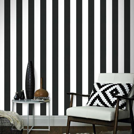 Papier Peint Intissé Lynn Rayures Vinyle Grainé 1005 x 52cm Noir, Blanc
