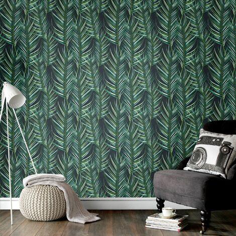 Papier Peint Intissé Entrelac de Feuilles de Palmier Vinyle 1005 x 52cm Vert