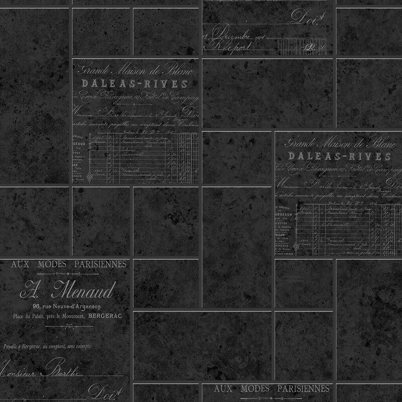 Graham&brown - Parisienne Charcoal Kitchen Wallpaper Textured Embossed Graham Brown