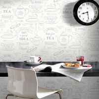 Superfresco Easy Paste The Wall Afternoon Tea Cafe White/Silver Wallpaper 33-009