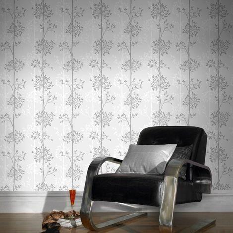 Superfresco Easy Paste the wall Domaniale Paillette White Mica /Grey Wallpaper (Was £17)
