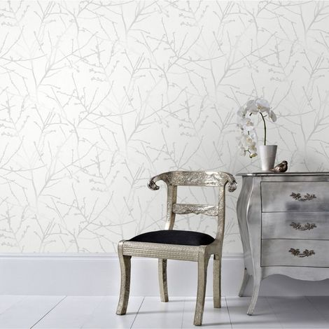 Superfresco Easy Paste the Wall Innocence Branch Grey/Silver Metallic Wallpaper