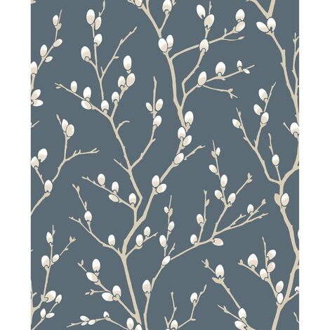 Superfresco Easy Paste the wall Karma Tree Midnight Blue Metallic Wallpaper (Was £17)