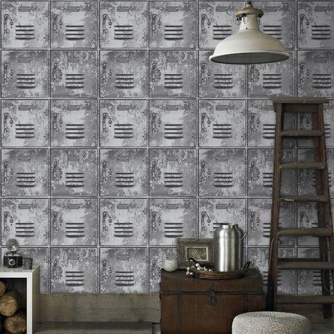 Superfresco Easy Paste the wall Locker Metal Look Grey Wallpaper (Was £17)