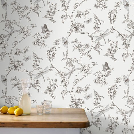 Superfresco Easy Paste The Wall Nature Trail Butterfly White Mica Wallpaper