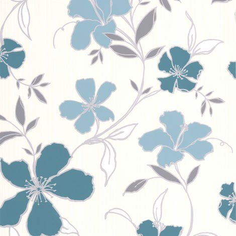 Superfresco Easy Paste The Wall Rapture Floral Teal / Silver Wallpaper