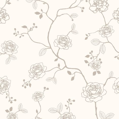Superfresco Easy Paste the wall Rose Floral Champagne Glitter Wallpaper (Was £17)