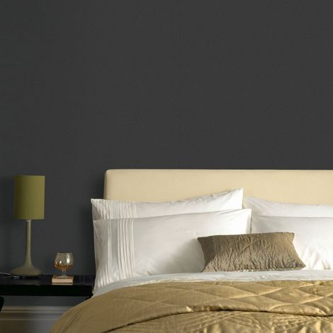 Superfresco Easy Paste the wall Textile Uni Textured Plain Black Wallpaper