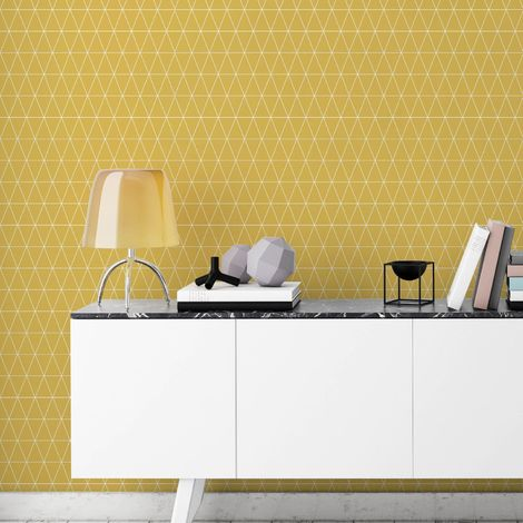 Superfresco Easy Paste the wall Triangolin Geometric Mustard Wallpaper
