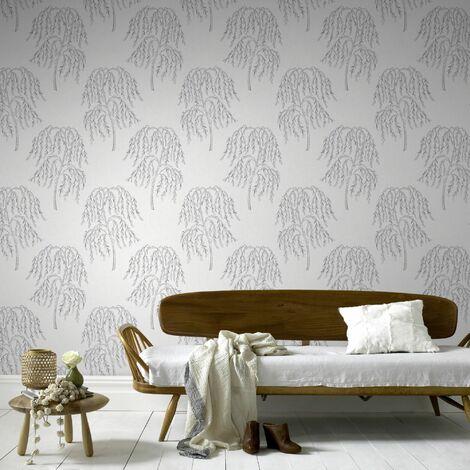 Superfresco Easy Paste the wall Willow Tree Glitter Metallic Silver Wallpaper (Was £17)