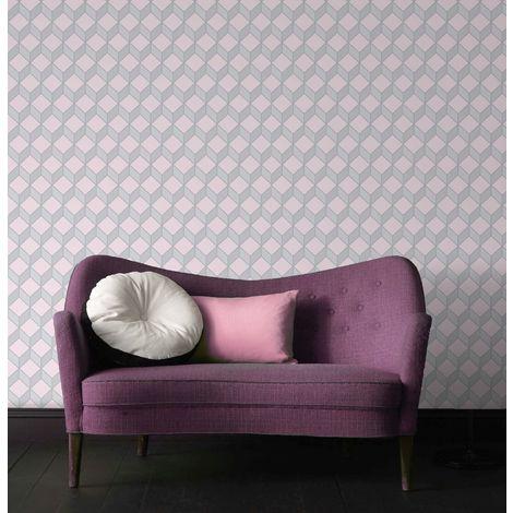 Superfresco Easy Pastel Pink Cube Scandi Geometric Wallpaper
