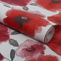 Superfresco Easy Poppies Paste The Wall Floral Red Wallpaper (Was £16)