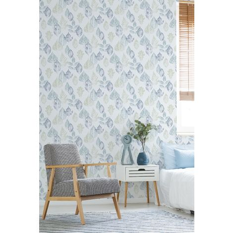 Superfresco Easy Rustic Watercolour Leaf Blue / Green Floral Wallpaper