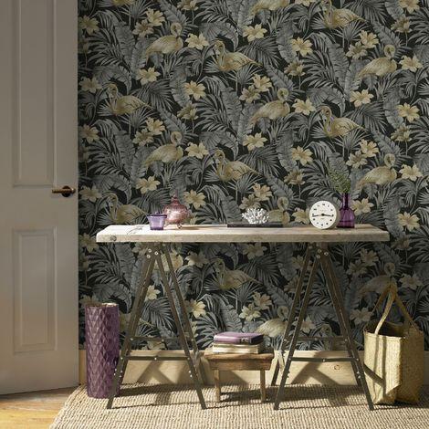 Superfresco Easy Sandrine Dark Chiq Tropics Dark Grey Floral Wallpaper