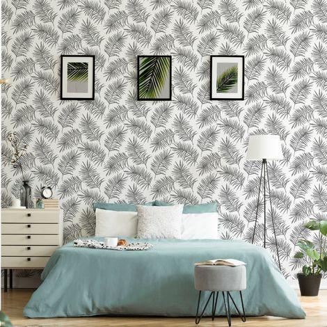 Superfresco Easy Scandi Leaf White/Grey Wallpaper