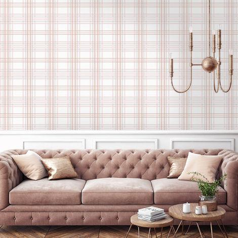 Superfresco Easy Silver Country Tartan Checkered Wallpaper