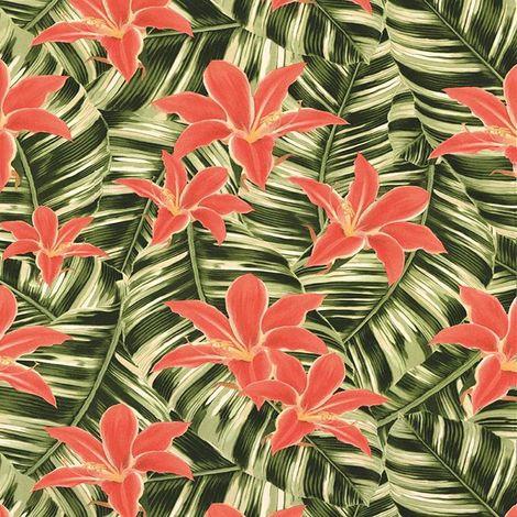 Superfresco Easy Tropical Leaf Green/ Pink Wallpaper
