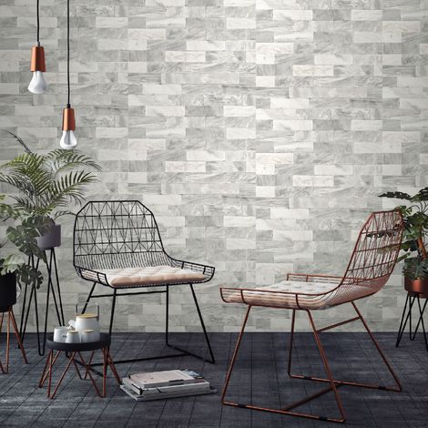 Superfresco Easy White Herringbone Marble Tile Wallpaper