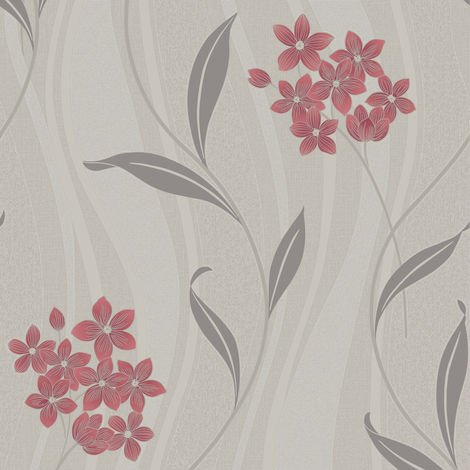 Superfresco Elise Metallic Glitter Floral Coral/Grey Wallpaper (Was £16)