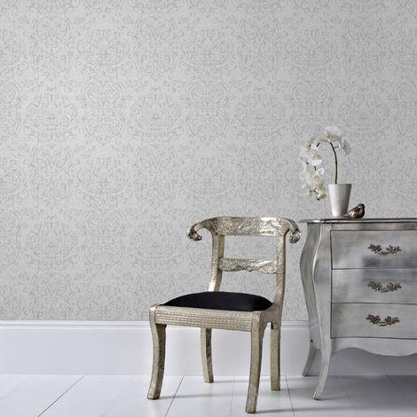 Superfresco Empress Damask Grey Wallpaper (Was £16)