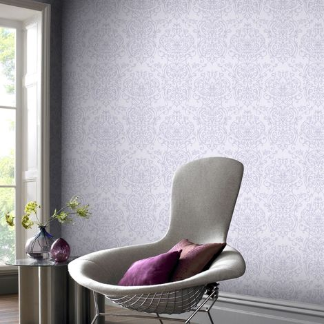 Superfresco Empress Purple and Pale Lilac Damask Wallpaper (Was £16)