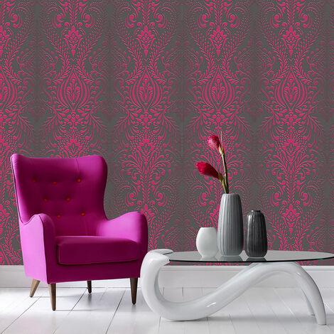 Superfresco Glamour Damask Print Subtle Glitter Black/Pink Wallpaper