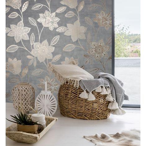 Superfresco Grey Fiorella Suede textured Floral Wallpaper