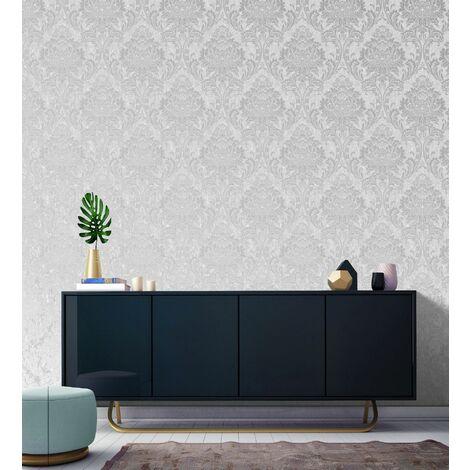 Superfresco Grey Milan Metallic Damask Wallpaper