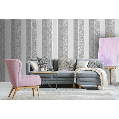 Superfresco Grey Milan Suede Effect Striped Wallpaper