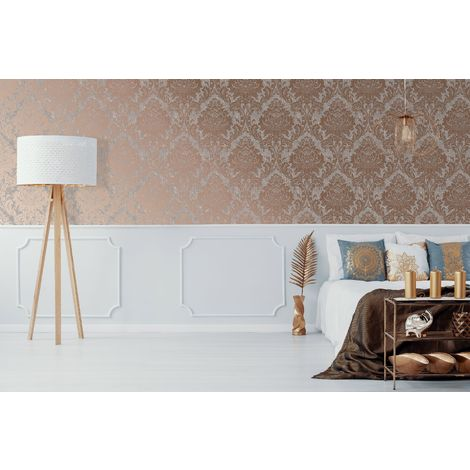 Superfresco Grey/Rose Gold Milan Metallic Damask Wallpaper