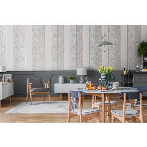 Superfresco Grey/Rose Gold Milan Suede Effect Striped Wallpaper