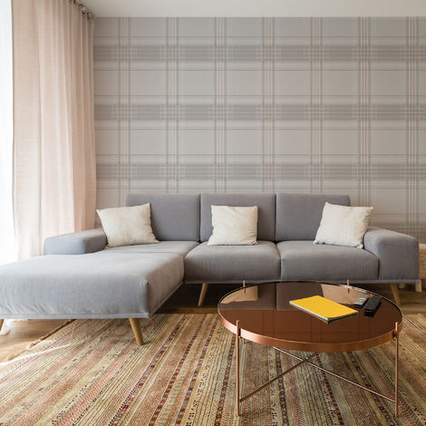 Superfresco Grey/Rose Gole Rhea Plaid Checkered Wallpaper