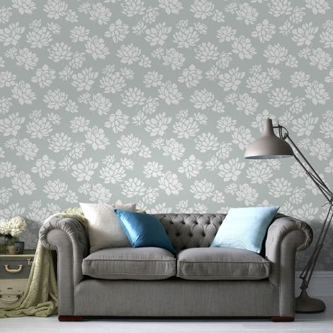 Superfresco Lotus Flower Floral Duck Egg Wallpaper (Was £16)