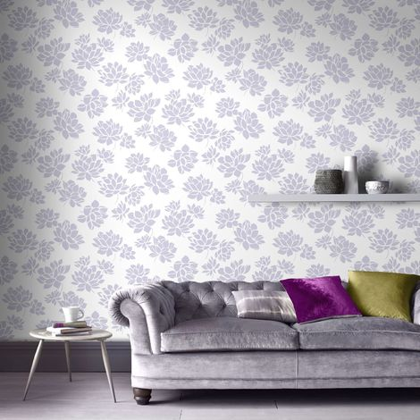 Superfresco Lotus Modern Flower Floral Lilac Wallpaper (Was £16)