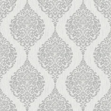 Superfresco Luna Textured Damask Grey Wallpaper