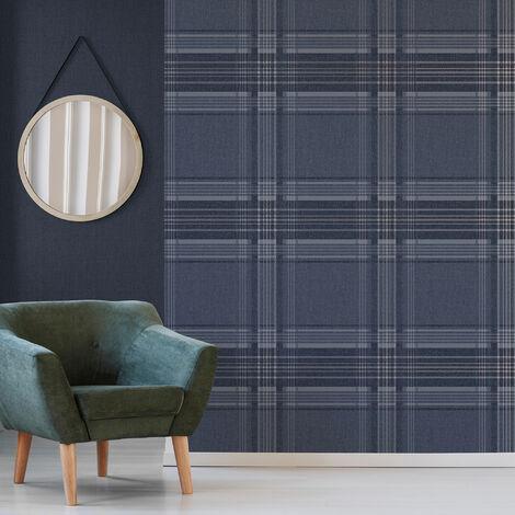 Superfresco Navy Rhea Plaid Checkered Wallpaper