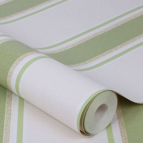 Superfresco Orla Stripe Green/Gold Metallic Textured Wallpaper (Was £16)