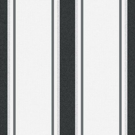 Superfresco Orla Stripe Grey/Silver Metallic Textured Wallpaper