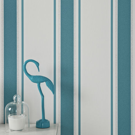 Superfresco Orla Stripe Teal/Silver Metallic Textured Wallpaper (Was £16)