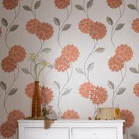 Superfresco Pippa Floral Orange Wallpaper