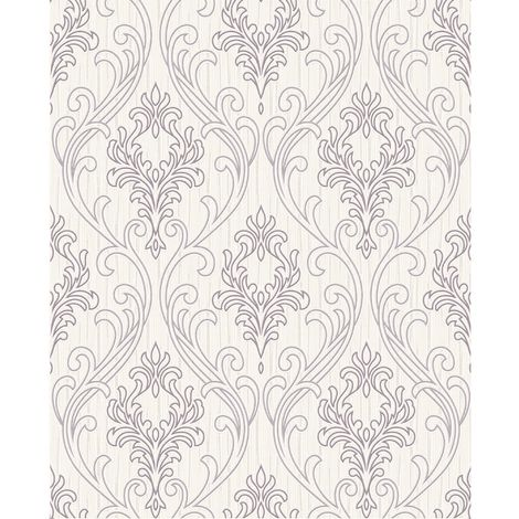 Superfresco Royale Glitter Textured Damask Lilac/White Wallpaper (Was £16)