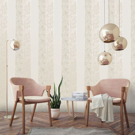Superfresco Taupe/Gold Milan Suede Effect Striped Wallpaper