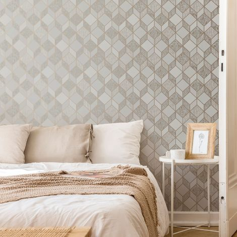 Superfresco Vittorio Grey/Rose Gold Geometric Wallpaper
