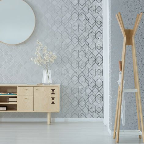 Superfresco Vittorio Grey/Silver Geometric Wallpaper