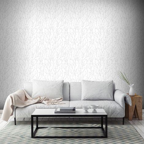 Superfresco Willamena Motif Silver & White Wallpaper (Was £16)