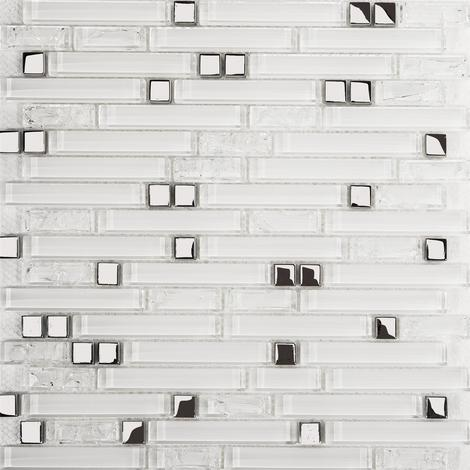 Superwhite Plain & Crackle and Silver Glass Brick Shape Mosaic Tile Sheet MT0139