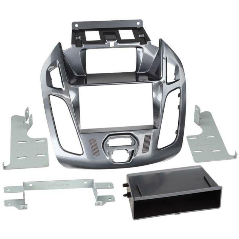 Support 2Din compatible avec Ford Tourneo Transit Connect ap13 Avec ecran - vide poche - Gris Nebula