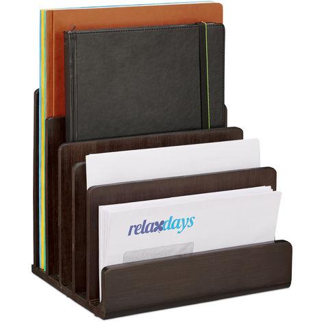 Support à documents, grand organiseur de bureau en bambou, 5 compartiments, range-lettres, 23,5 x 25 x 20,5 cm