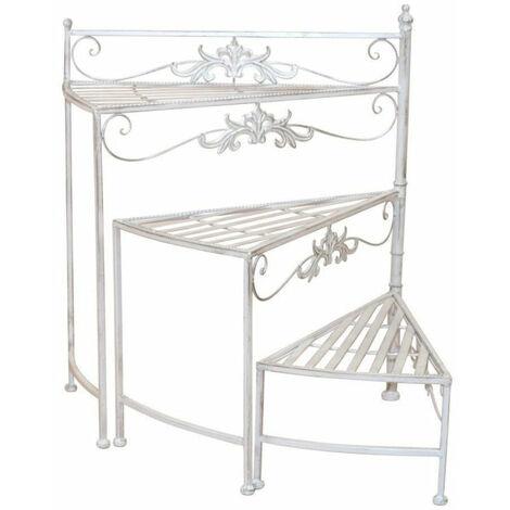 Support à fleurs en escalier en métal blanc/crème vielli style vintage - crèmem